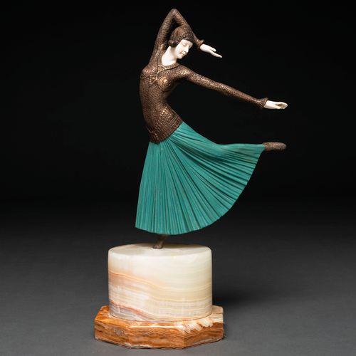 """""""Ballerina"""" Figure chrysolephantine en bronze et ivoire. XXème siècle. Présente …"""