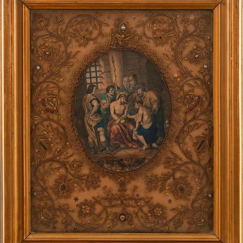 Reliquaire du XIXe siècle à décor de motifs floraux réalisés en filigrane de pap…