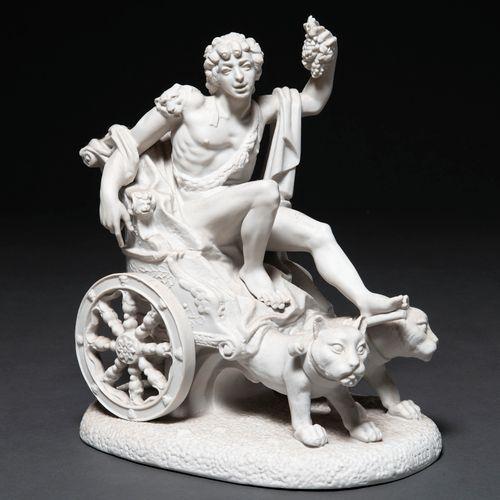 """""""Bacchus tiré par un char de lions"""" Groupe sculptural réalisé en biscuit. Œuvre …"""