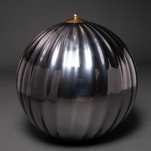 Lustre italien en verre de Murano de couleur argentée, avec embout en bronze dor…
