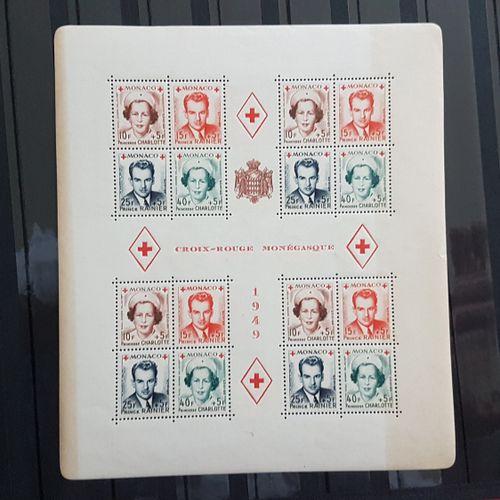 MONACO 1949 MONEGASQUE RED CROSS Sheet 172 x 15 mm. 4 blocks of 4 Prince Rainier…