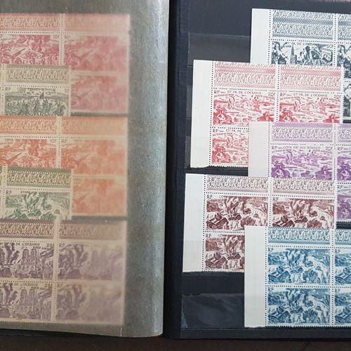 Series from CHAD to RHINE 1946. 90 values in blocks of 4. New. In a binder.