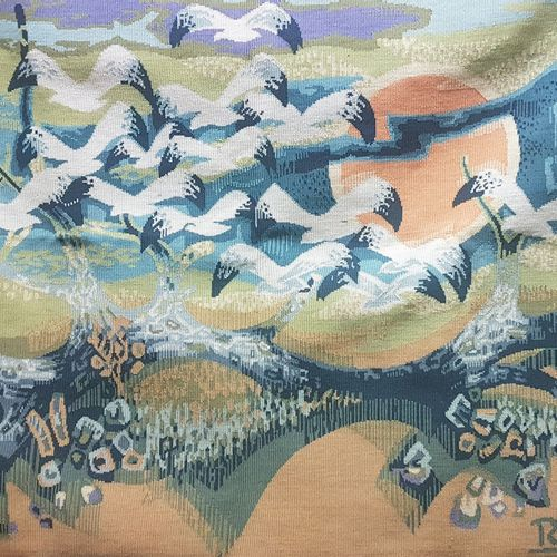 Roger DEBIEVE (1926 1994)  Seagulls  120 x 160 cm  Tapestry made of woolen ure o…