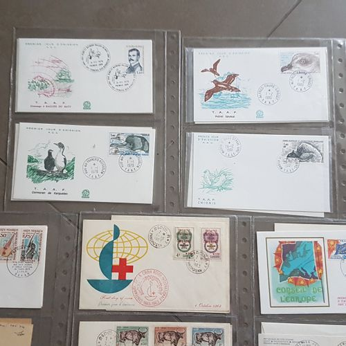 Lot of 59 1st day envelopes (France, Monaco, colonies, Antarctica) and miscellan…