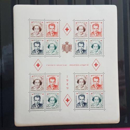 MONACO 1949 MONEGASQUE RED CROSS Sheetlet 172 x 15 mm. 4 blocks of 4 Prince Rain…