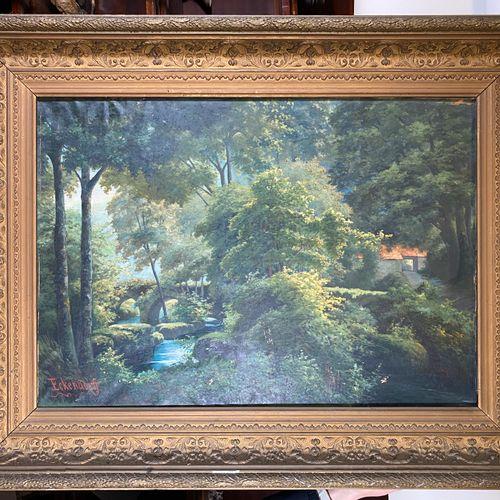 """Ecole du XIXème, Rivière en forêt, huile sur toile située en bas à gauche """"Ecken…"""