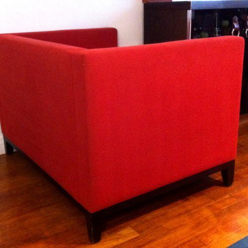 "Christian LIAIGRE (1945), ""Kalfa"" armchair, 1994. Oak legs, structure upholstere…"