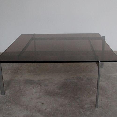 "Poul KJAERHOLM (born in 1929) ""PK 61"" coffee table, smoked glass top, nickel pla…"