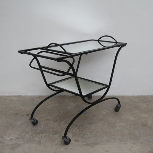 Art deco black lacquered metal rolling side table with two dark mirrored tops an…