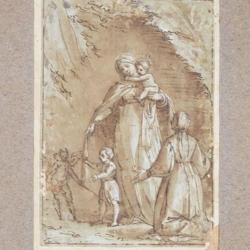 Attribué à Luca CAMBIASO (1525 1587). Vierge à l'Enfant avec une donatrice ageno…