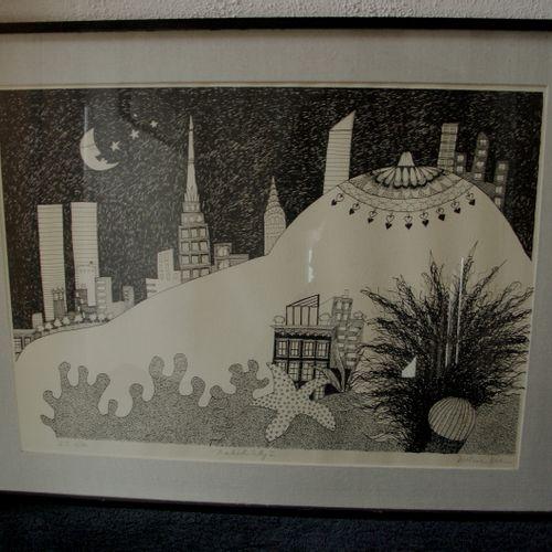 """DULCIE DEE, """"Naked city"""" serie de 4 lithographies sous verre, signés, titrés et …"""