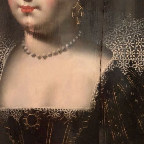 归属Jean DUCAYER(17世纪)。优质女人,板面油画,尺寸:34 x 26 cm。(裂缝)