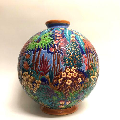 """LONGWY e Maurice Paul CHEVALLIER, """"Boule Coloniale"""" Vaso a sfera in terracotta, …"""
