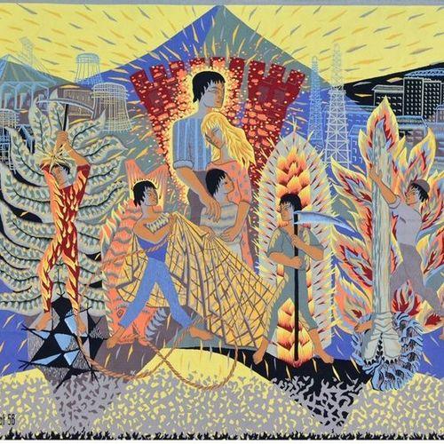 TAPISSERIE par Simone BRACHET LABAT, ALLÉGORIE DES MÉTIERS, 1958 Tapisserie d'Au…