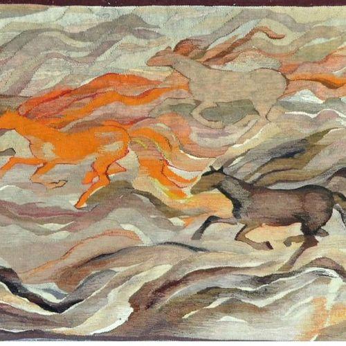 TAPISSERIE moderne à décor de chevaux. XX ème. 120 x 205 cm.