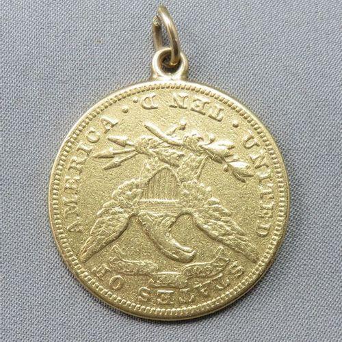 """PENDENTIF Pièce 10 $ US or à 900°/00. Liberty Eagle avec devise """"in god we trust…"""