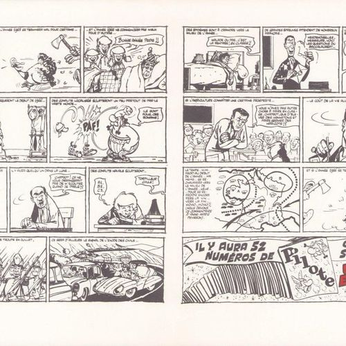 UDERZO Asterix. Very rare set consisting of the greeting card Pilote 1966 (2 par…