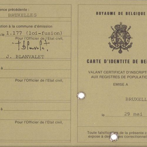 FRANQUIN Gaston. Rare Belgian identity card of Gaston Lagaffe. Version with 2 ri…