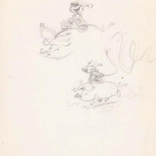 Franquin, André (1924 1997). Mine de plomb sur papier mince pour cette page d'ét…