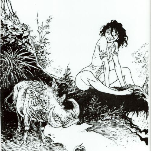 FRANK PE Zoo. Impression sur un carreau de céramique figurant Manon et un phacoc…
