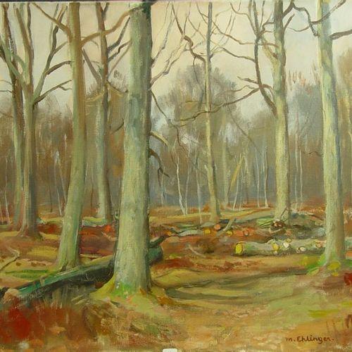 60 Maurice EHLINGER  ''Les sous bois''  Huile sur toile signée en bas à droite  …
