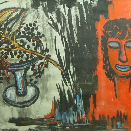 89 J. ALBARET  ''Visage''  Aquarelle gouachée signée en bas à droite  49 x 65 cm
