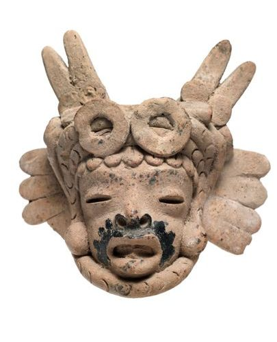 Set consisting of two heads and a mask Head with headdress of the god Tlaloc Ter…