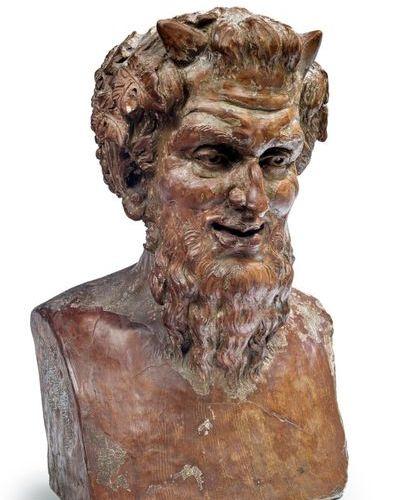 D'après l'Antique Bust of fauna in terracotta 19th century H. 44 cm. W 30 cm. D.…
