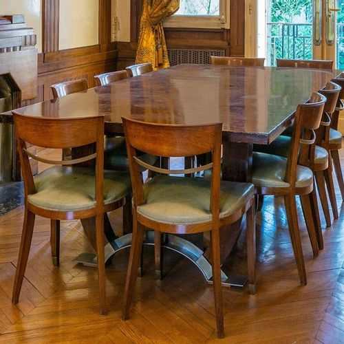 Jules LELEU (1883 1961) Rare suite of ten walnut chairs with a metal bar inserte…