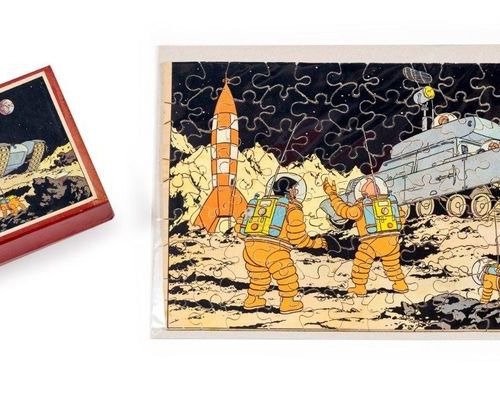 Tintin Puzzle Lunar device, from We walked on the moon. Bottom of the box glued …