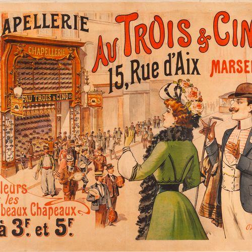 AUVERGNE. Hattery in Les Trois & Cinq Marseille. Circa 1900. Lithographic poster…