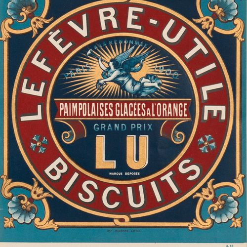 LEFEVRE USEFUL COOKIES. Orange glazed paimpolaises. Circa 1913. Paimpolaises box…