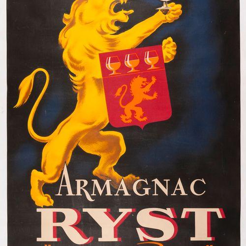 ANONYMOUS. Armagnac Ryst de Haut Parage. Condom Gers. 1946. Lithographic poster.…