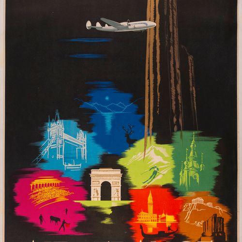 MAURUS Edmond. Air France. Europe. 1950. Lithographic poster. 192.P.1/50. Goosse…