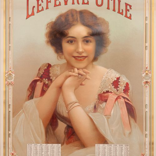 LEFEVRE USEFUL NANTES. Hanging calendar sign for the year 1898. Chromolithograph…