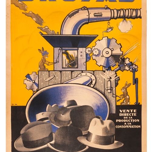 G.M. Bruyas Hats. Lithographic poster. P.A.L. Covered, fairly good condition: ye…