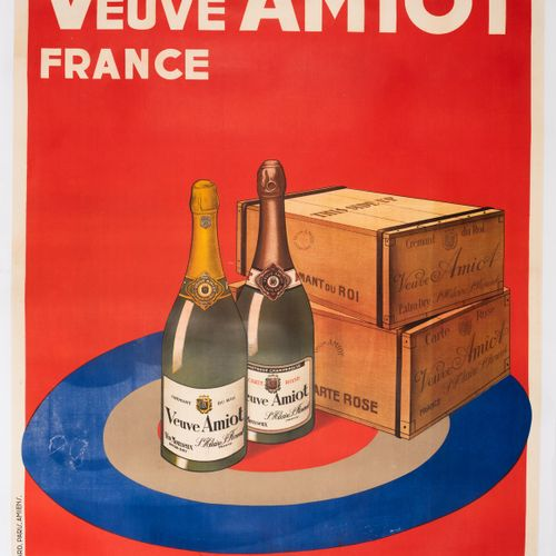 ANONYMOUS. Widow Amiot France. Great Sparkling Wines. Lithographic poster. Poste…