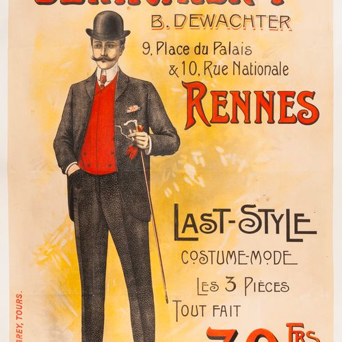 ANONYMOUS. Dewachter Frères Rennes. Last Style. Circa 1900. Lithographic poster.…