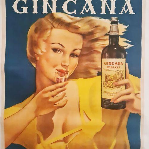 ANONYMOUS. Aperitivo Gincana. Circa 1950. Offset poster. Stab. Tip. A. Nava Mila…
