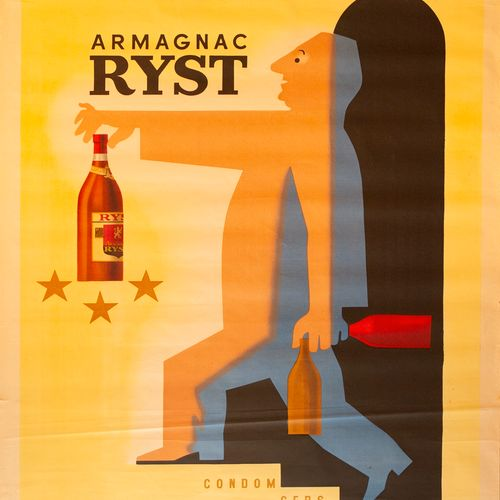 SAVIGNAC Raymond. Armagnac Ryst. Condom gers. 1943. Lithographic poster. Consort…