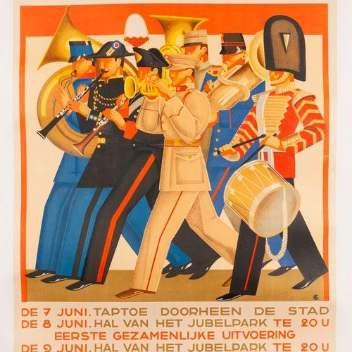 CA. Stad Brussel Internationaal Festival der Wachten. 1935. Lithographic poster.…