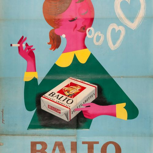 GOUJU Maurice ALMARIC Georges. Cigarettes Balto American Blend. French Tobacco B…