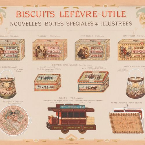 LEFEVRE USEFUL COOKIES. New special illustrated tins. Circa 1898. Advertising in…