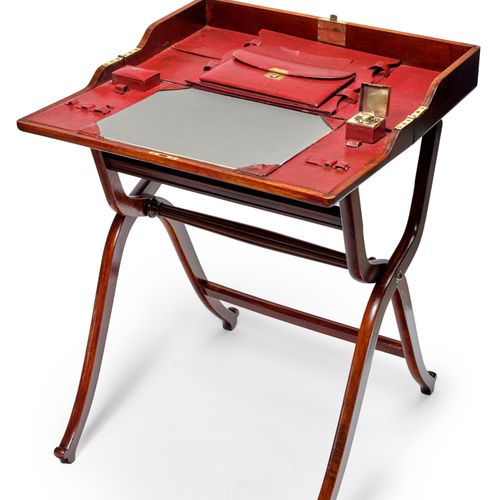 Varnished wood folding desk, red leather covered desk pad and storage, inkwell E…