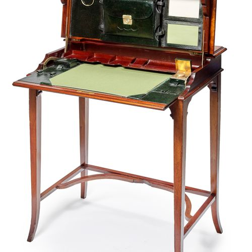 Varnished mahogany folding desk, black leather covered desk pad and storage unit…
