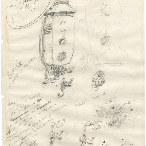ANDRE FRANQUIN (1924 1997) Mine de plomb sur papier pour trois études. 21,5x18,7…