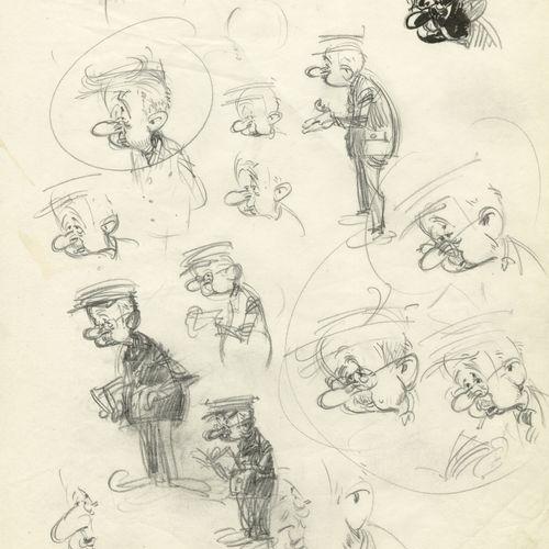 ANDRE FRANQUIN (1924 1997) Mine de plomb sur papier. 25,5x20,5 cm.