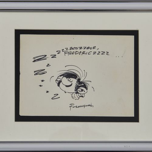 Franquin dédicace: Très beau dessin représentant Gaston endormi (12,5x17,5cm…