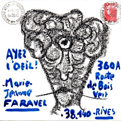 ARNEODO Alain Ayez l'œil (13.415) / Enveloppe Mail Art / Technique mixte sur pap…