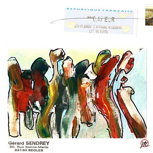 COMES Jean Pierre Sans titre / Enveloppe Mail Art / Technique mixte et collage s…